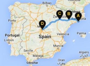 harta autostop barcelona madrid