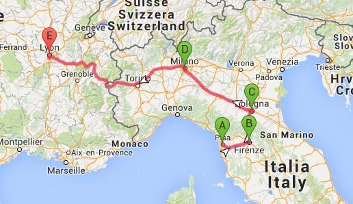 Harta Italia Mediciniștii Călători